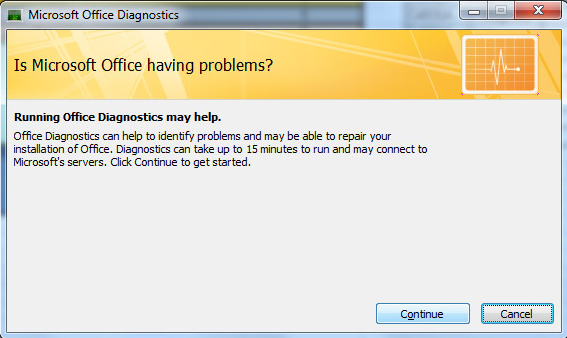 if the diagnostics is complete you will be informed about the status of ms office and consequent steps