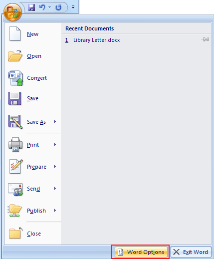 ms office eg ms access ms excel or ms word you need to click the microsoft office button top left part of the window and select word options or